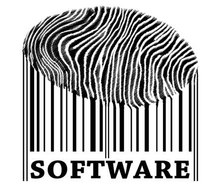 Software on barcode with fingerprint photo
