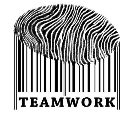 Teamwork on barcode with fingerprint photo