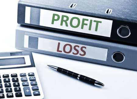 profit and loss: Profit and Loss write on folder and office tools