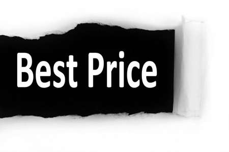 discovered: Best price word discovered under paper Stock Photo