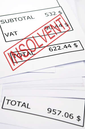 insolvent: Insolvent stamp on financial paper