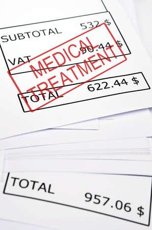 Medical treatment stamp on financial paper Banco de Imagens