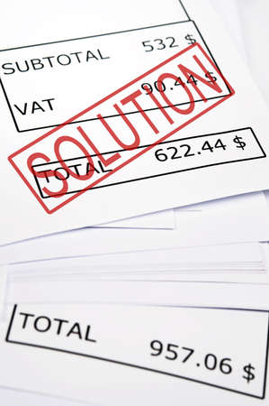 Solution stamp on financial paper photo