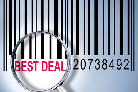 Best Deal under magnifyng glass on barcode photo