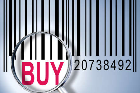 Buy under magnifyng glass on barcode photo