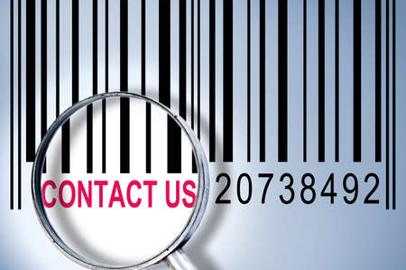 Contact us under magnifyng glass on barcode Stock Photo - 10081340