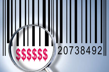 Dollar sign under magnifyng glass on barcode photo