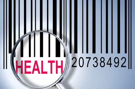 Health under magnifyng glass on barcode photo