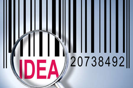 Idea under magnifyng glass on barcode Stock Photo - 10063270