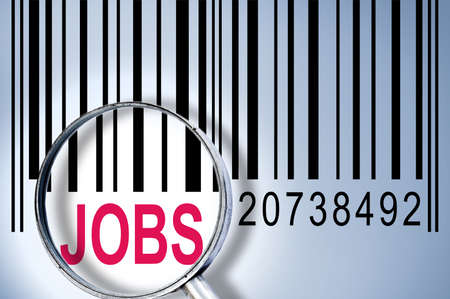 Jobs under magnifyng glass on barcode photo