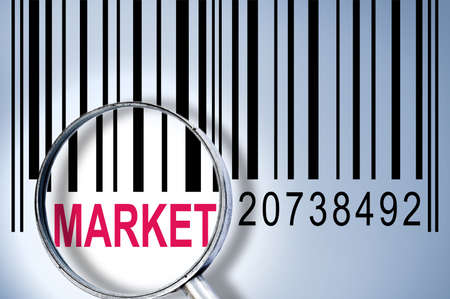 Market under magnifyng glass on barcode photo