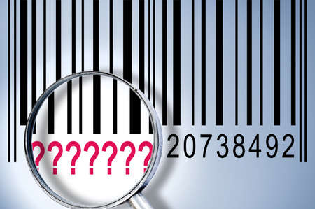????? under magnifyng glass on barcode photo