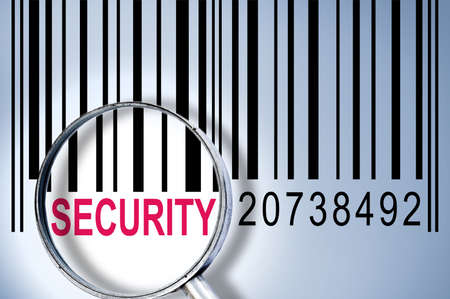 Security under magnifyng glass on barcode photo