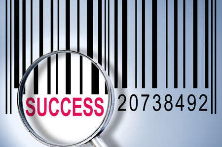Success under magnifyng glass on barcode photo