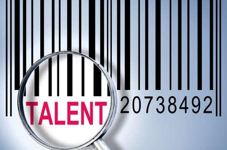 talents: Talent sous verre magnifyng sur barcode