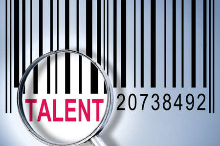 discover: Talent under magnifyng glass on barcode
