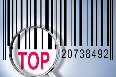 Top under magnifyng glass on barcode photo