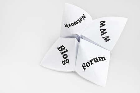Social media on fortune teller paper photo