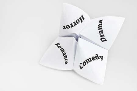 Movie genre on fortune teller paper photo