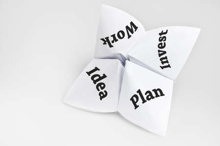 Business steps on fortune teller paper photo