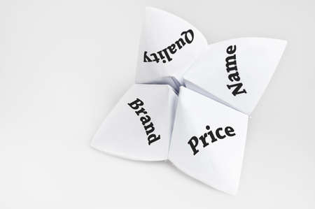 price uncertainty: Choosing productservice needs on fortune teller paper Stock Photo