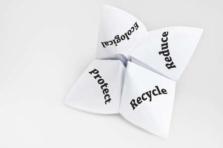 Recycle on fortune teller paper photo