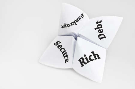 Financial status on fortune teller paper photo