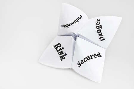 Security status on fortune teller paper photo