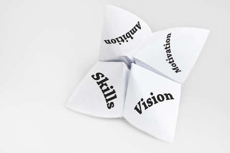 Qualities of employee on fortune teller paper photo
