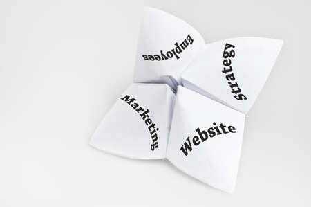Business importance domains on fortune teller paper photo