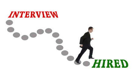 hired: Road to Hired for man in suit Stock Photo