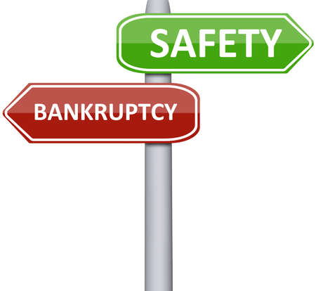economic recession: Safety and Bankruptcy on road sign