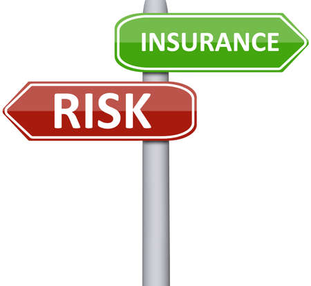 money risk: Risk and insurance on road sign