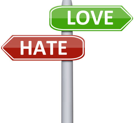 hate: Love and hate on road sign Stock Photo