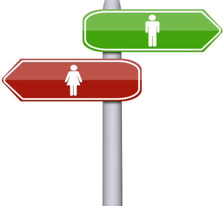 Man and Woman sign on road sign photo