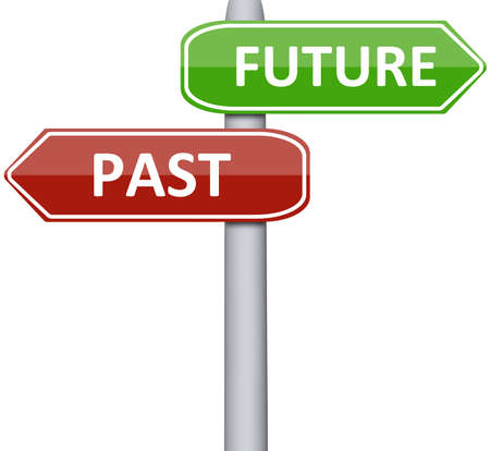 Past and future  on road sign photo