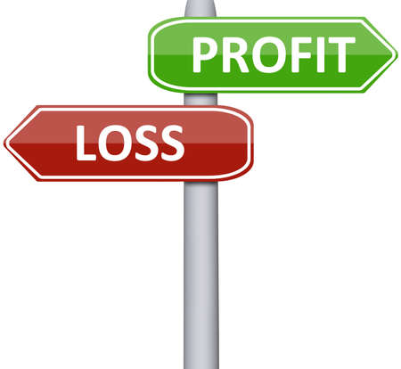 profits: Profit and Loss on road sign Stock Photo