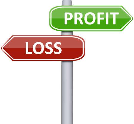 Profits et pertes sur panneau routier Banque d'images