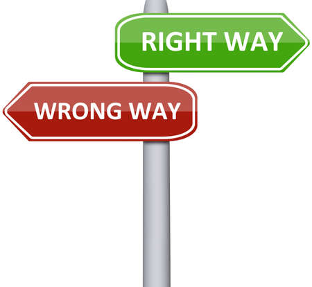 ways: Right and wrong way  on road sign Stock Photo
