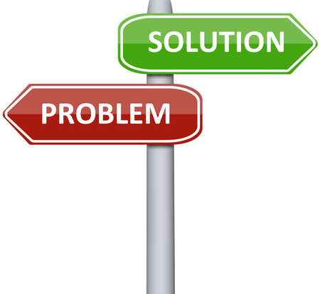 Solution and problem on road sign Stock Photo - 10063067