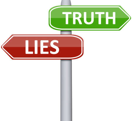 untruth: Lies and truth on road sign Stock Photo
