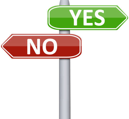 indecision: Yes and No on road sign Stock Photo
