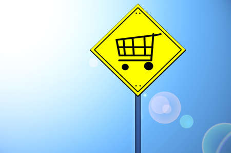 cart road: Shopping cart on yellow road sign