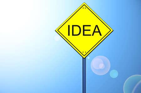 Idea word on yellow road sign Stock Photo - 10063465