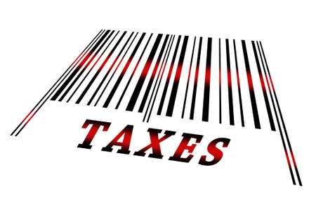 the reader: Taxes word on barcode scanned