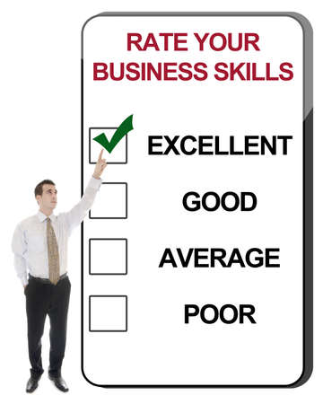 Business man pointing Rate Business Skills photo