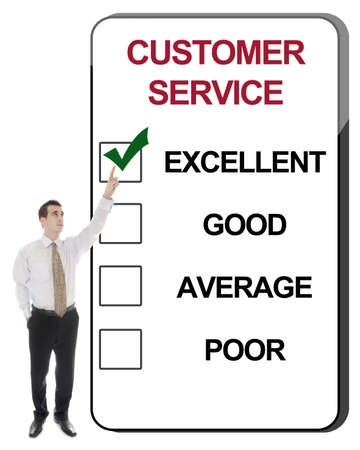 excellent background: Business man pointing Customer Service Stock Photo