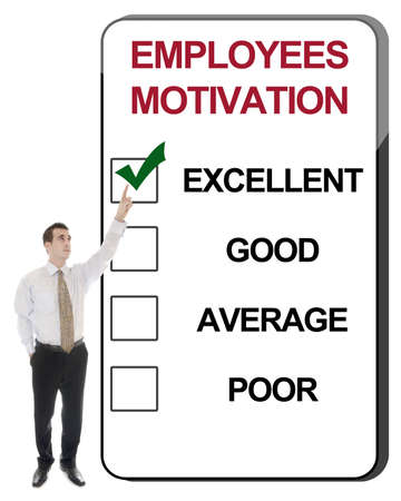 motivating: Business man pointing Employees Motivation