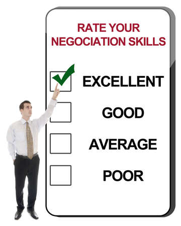 Business man pointing Rate your negociation skills Stock Photo