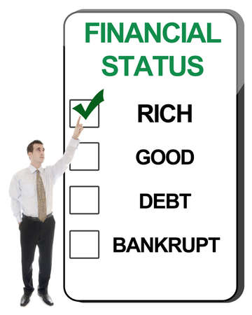 Business man pointing Financial Status Stock Photo - 10063533